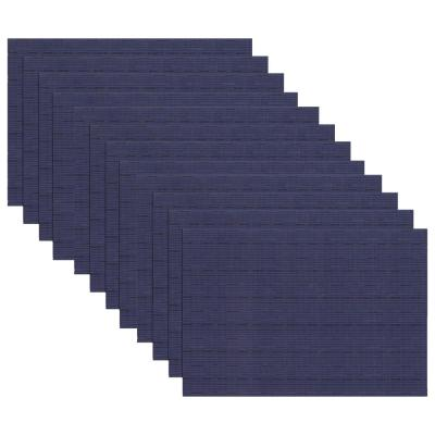 19 in. x 13 in. Grass Cloth Blue Reversible PVC and Polyester Woven Indoor Outdoor Placemats (Set of 12)