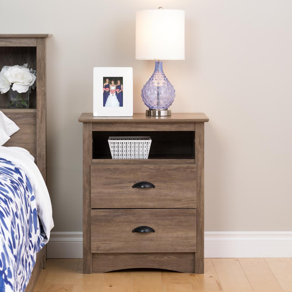 Salt spring 2 drawer drifted gray nightstand
