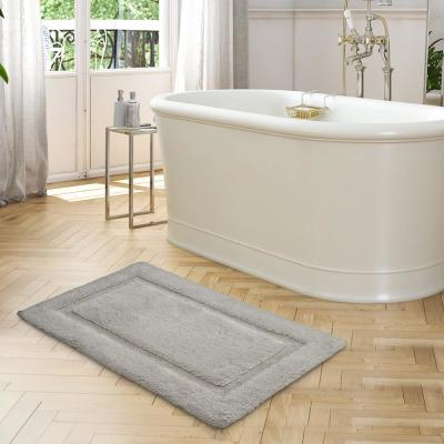 Solid Bordered Ringspun Cotton Glacier Gray 17 in. x 24 in. Bath Accent Rug