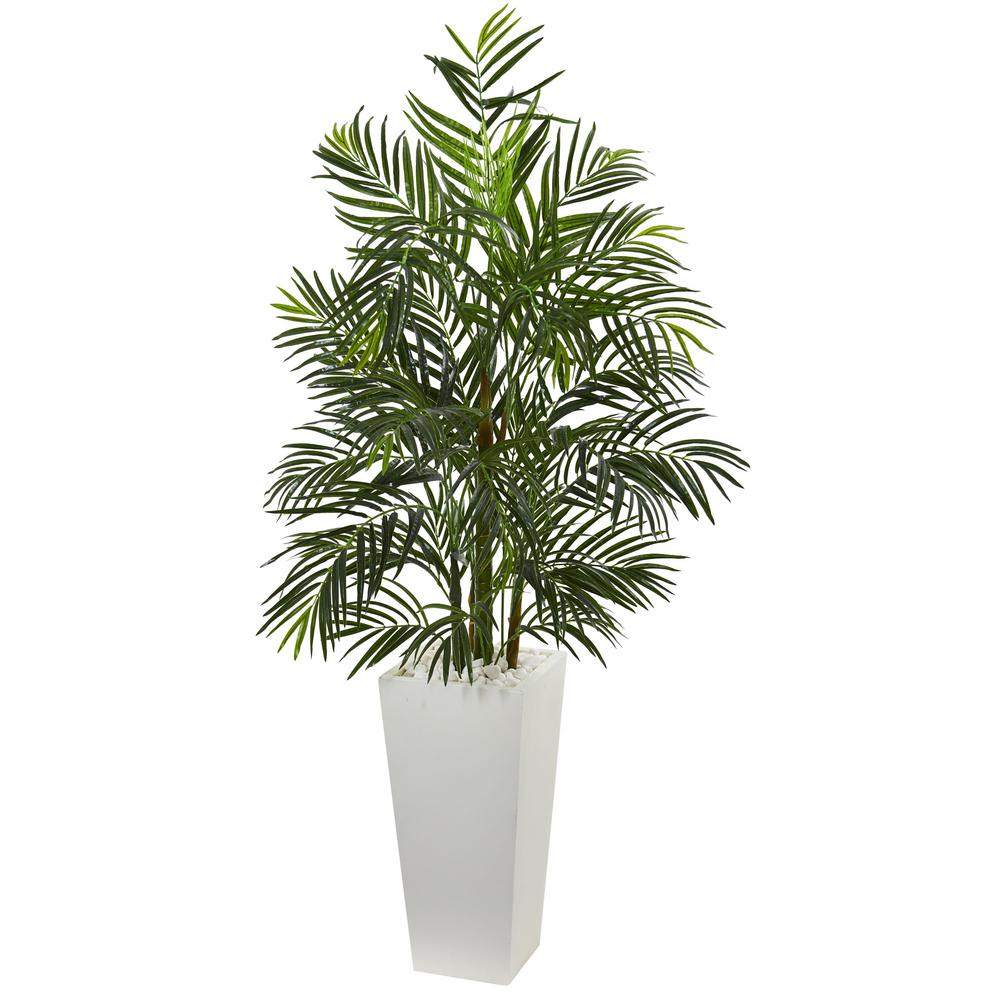 nearly natural 5 in uv resistant indoor outdoor areca artificial palm tree in white planter. Black Bedroom Furniture Sets. Home Design Ideas