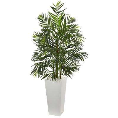 5 in. UV Resistant Indoor/Outdoor Areca Artificial Palm Tree in White Planter