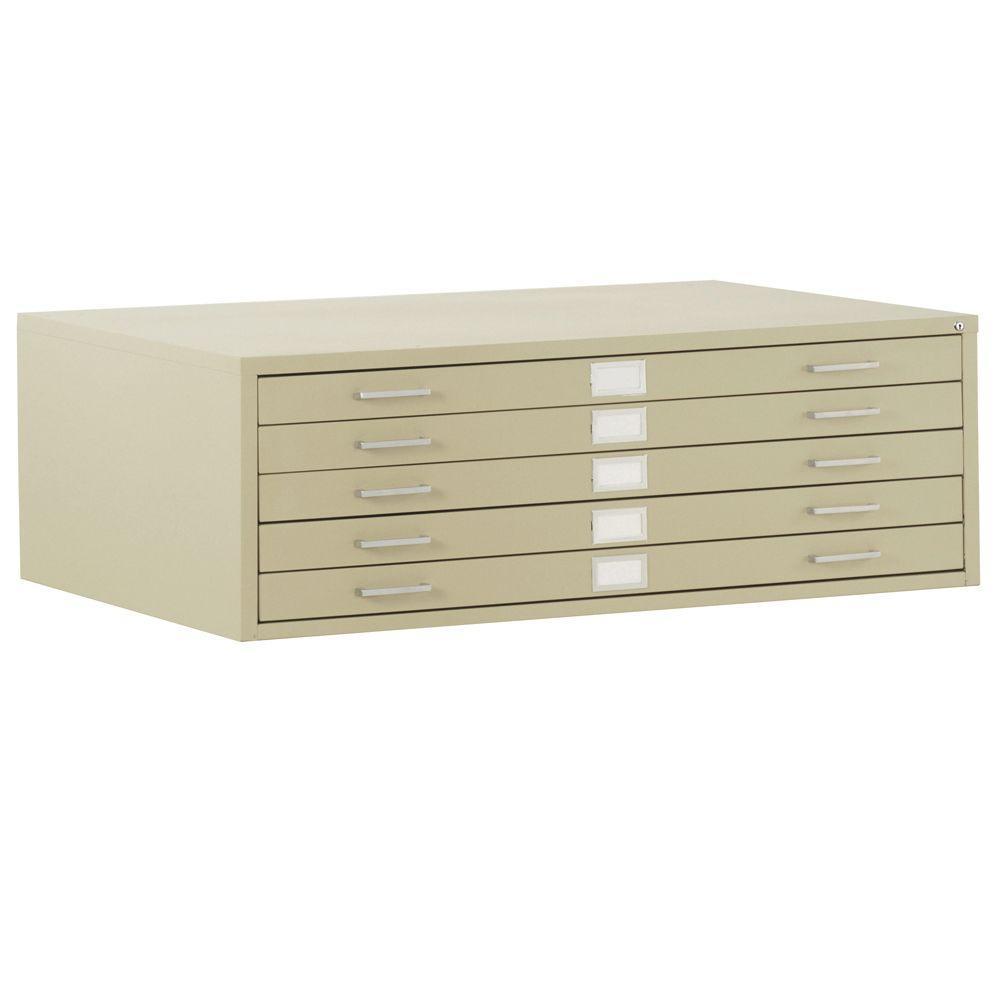Sandusky 28 in. H x 41 in. W x 28 in. D 5-Drawer Flat File Cabinet ...