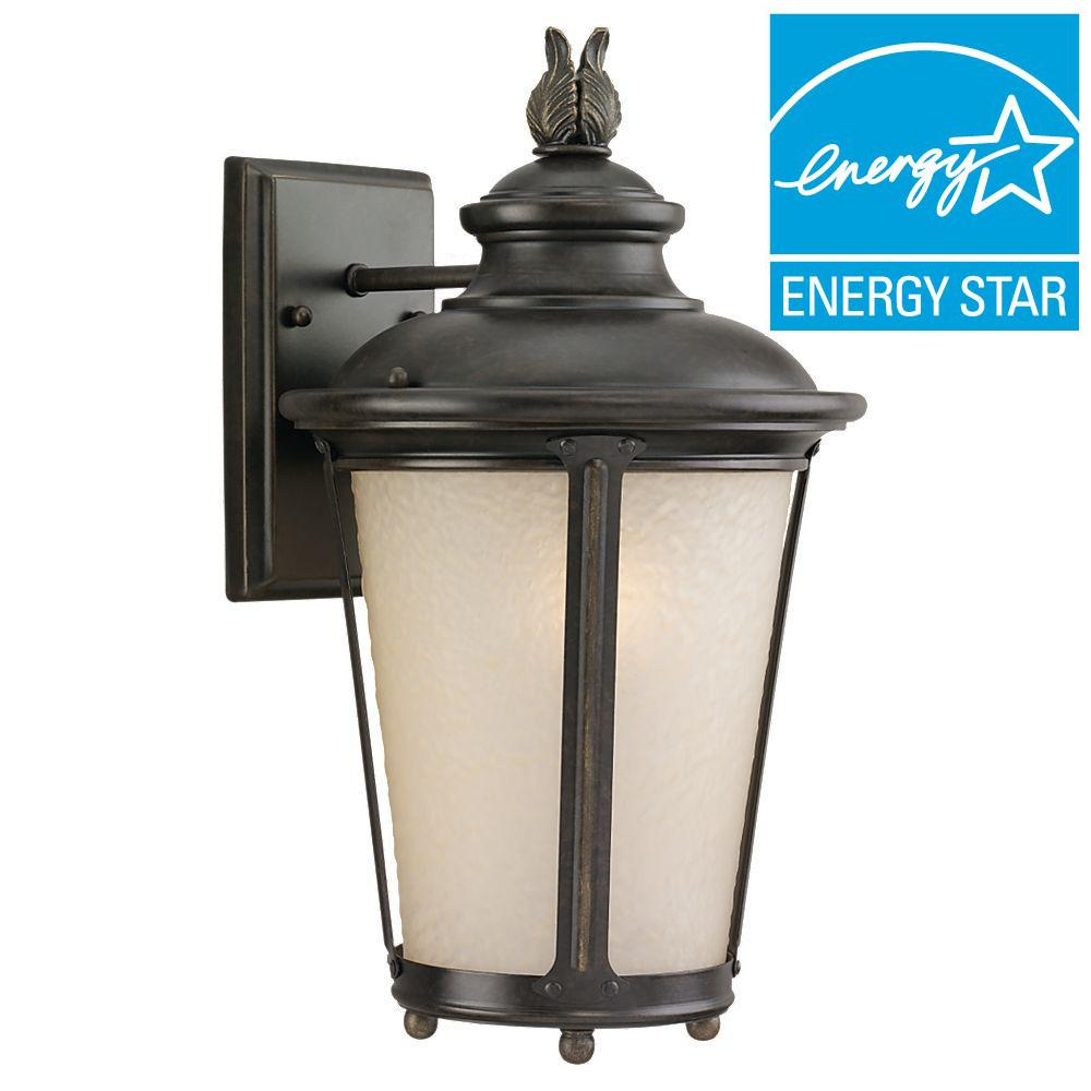 Cape May 1-Light Outdoor Burled Iron LED Wall Mount Lantern