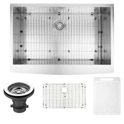 Camden Farmhouse Stainless Steel 33 in. 0-Hole Single Bowl Kitchen Sink with 1 Grid, 1 Strainer in Stainless Steel
