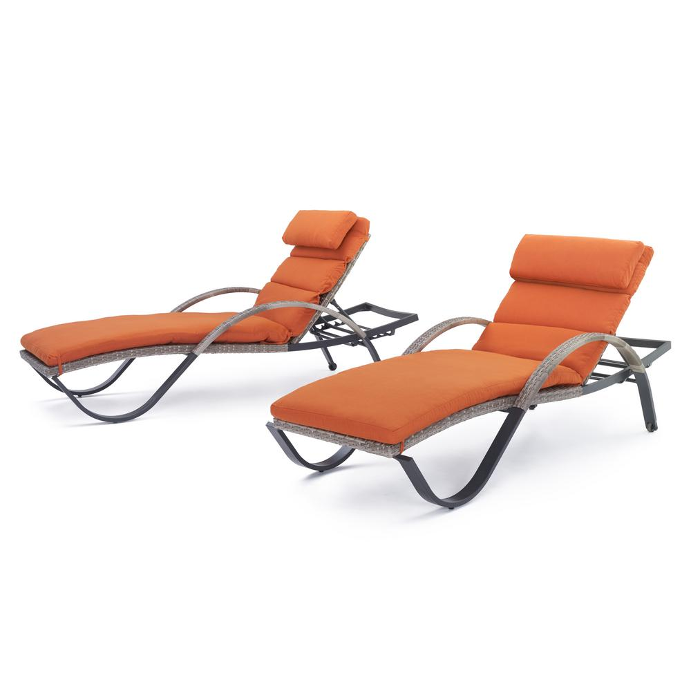 Cannes Patio Chaise Lounge with Tikka Orange Cushions (2-Pack)
