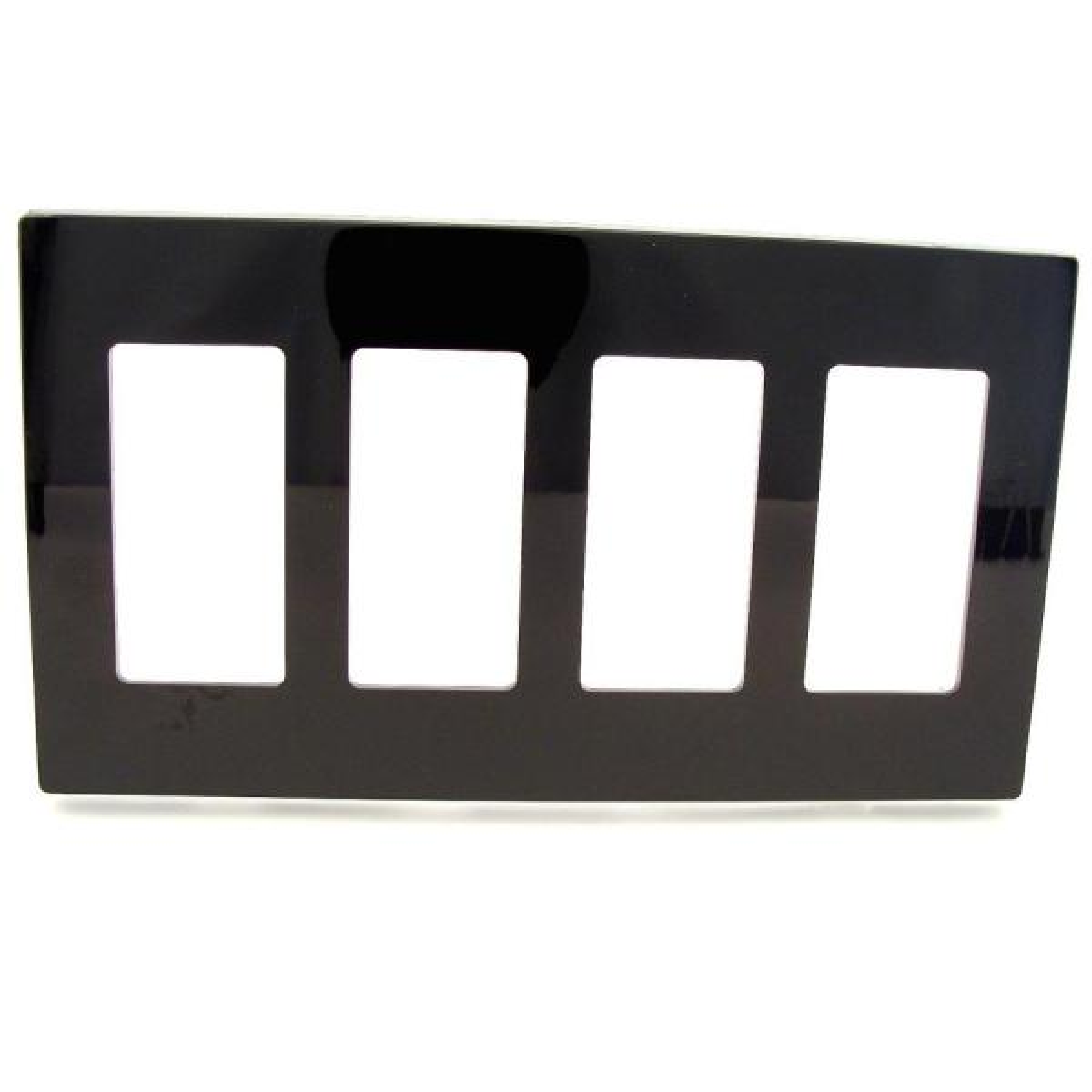 Black 4-Gang Decorator/Rocker Wall Plate (1-Pack)