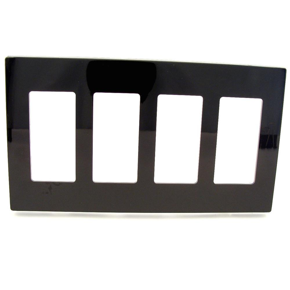 Leviton 4 Gang Decora Screwless Wall Plate Black 80312 Se