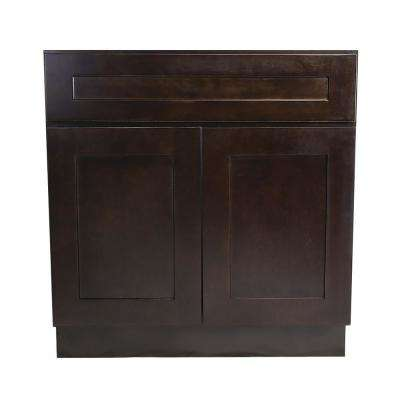 Brookings Plywood Assembled Shaker 36x34.5x24 in. 2-Door Sink Base Kitchen Cabinet in Espresso