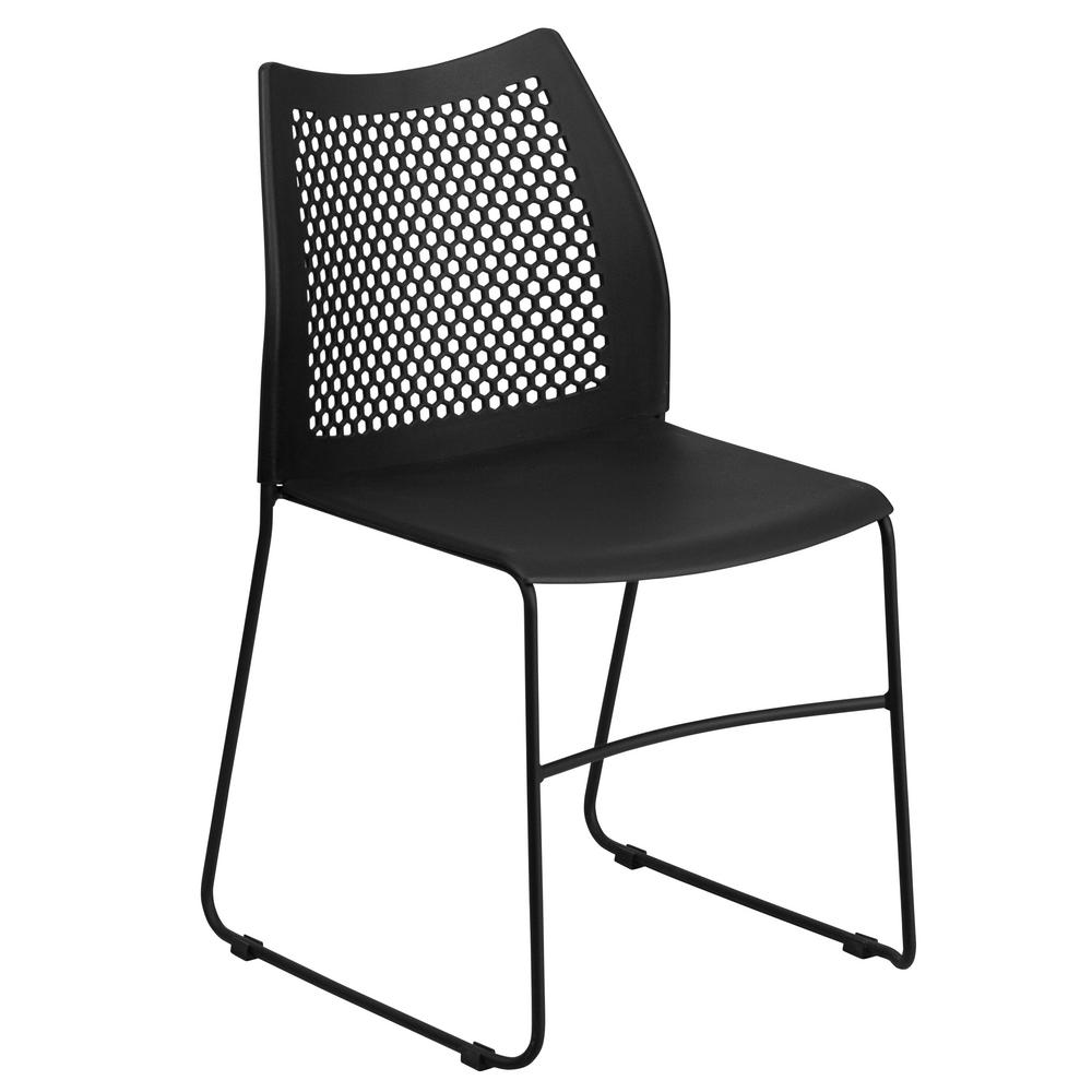 Flash Furniture Hercules Series 661 lb. Capacity Black Sled Base Stack Chair with Air-  sc 1 st  The Home Depot & Flash Furniture Hercules Series 661 lb. Capacity Black Sled Base ...