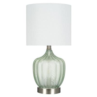18 in. Green Glass Accent Lamp