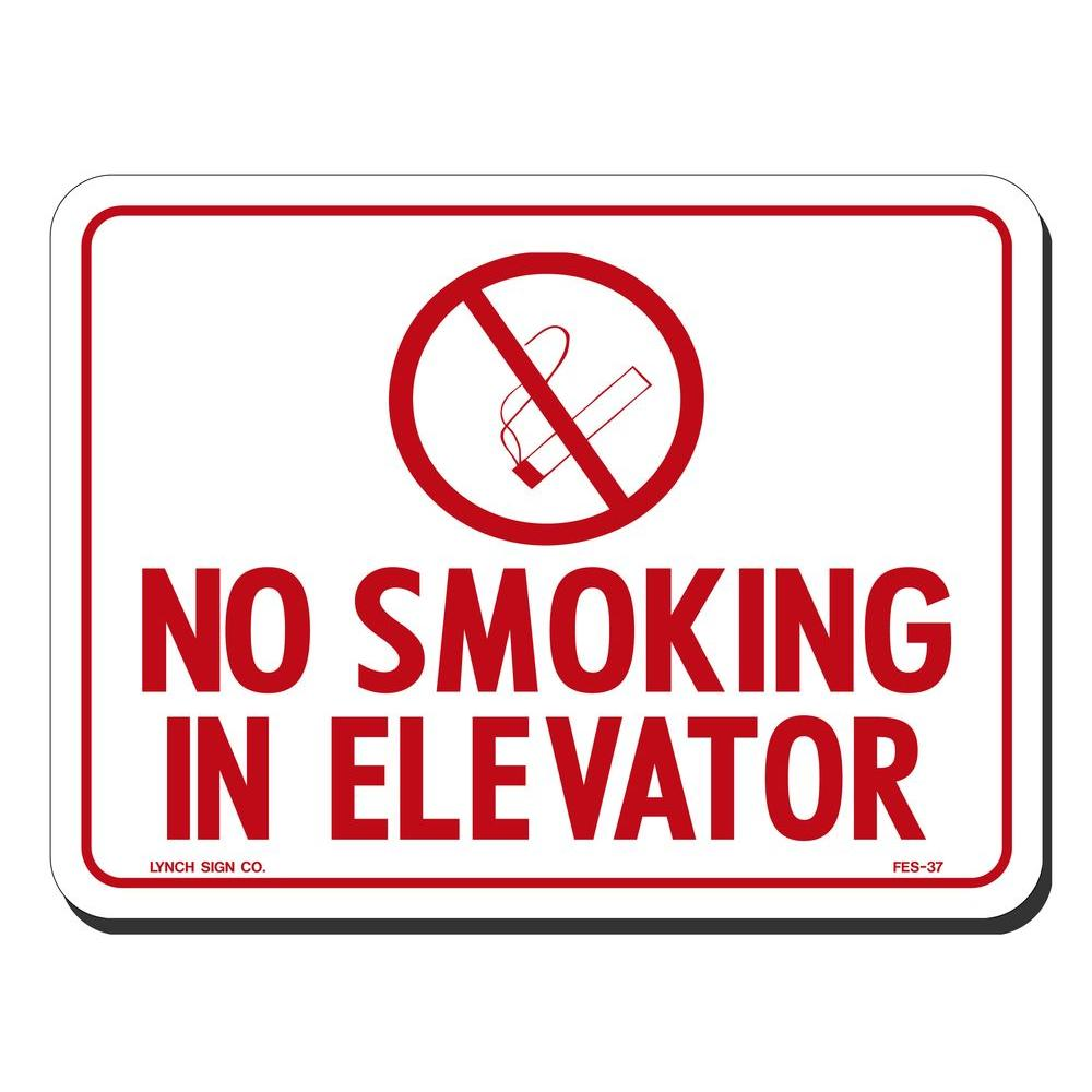 Lynch Sign 8 In X 6 In No Smoking In Elevator With Symbol Sign