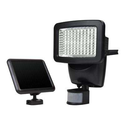 Solar 180-Degree Black Motion Activated Outdoor 120 Integrated LED Area Light