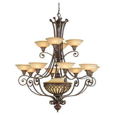 Stirling Castle 13-Light British Bronze Multi-Tier Chandelier Shade