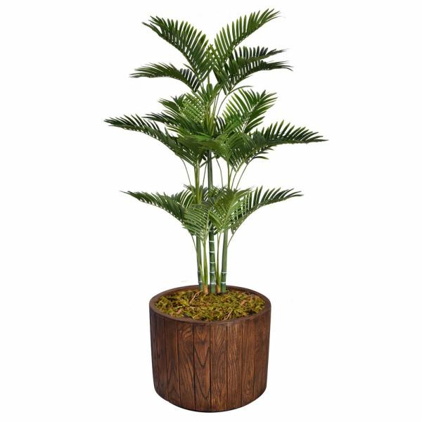 Laura Ashley 64.8 in. Tall Palm Tree Artificial Decorative Faux with Burlap Kit In 12.8 in. Brown Wood-like Fiberstone Planter