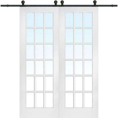 72 in. x 96 in. Primed 18-Lite Door with Barn Door Hardware Kit