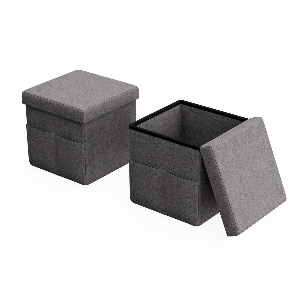 Magnificent Lavish Home Gray Foldable Storage Cube Ottoman With Pockets Creativecarmelina Interior Chair Design Creativecarmelinacom