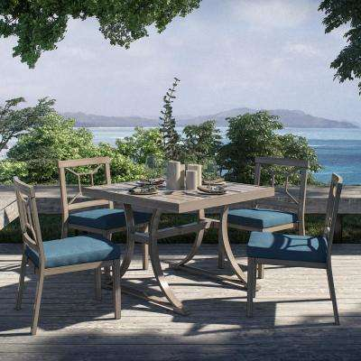 Alonso Distressed Grey 5-Piece Aluminum Outdoor Dining Set with Blue Olefin Cushions
