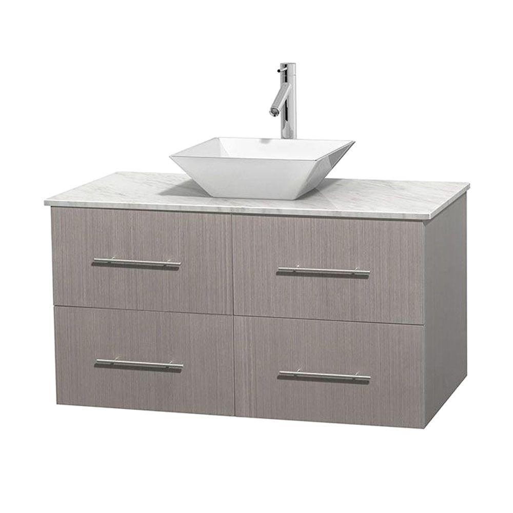 Wyndham Collection Centra 42 in. Vanity in Gray Oak with Marble Vanity Top in Carrara White and Porcelain Sink