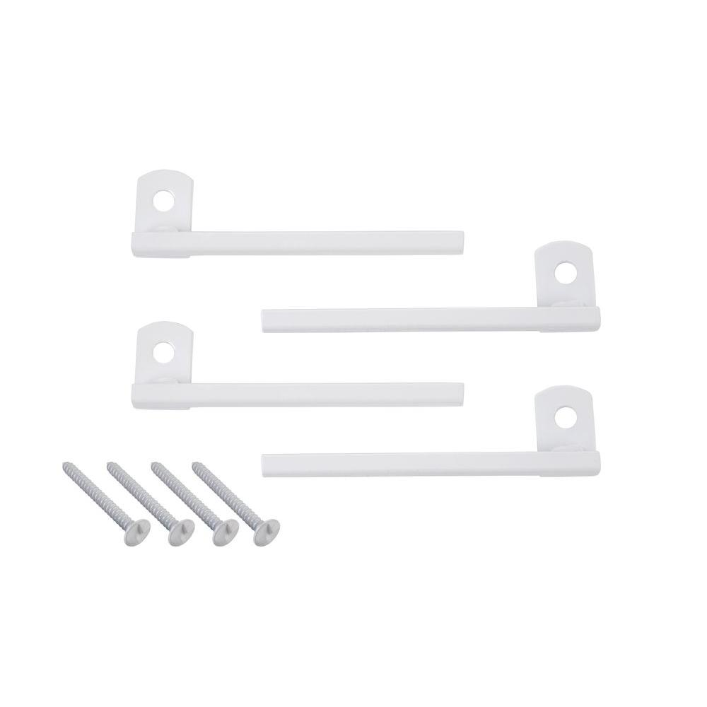 Flush-Mount Window Bar Brackets, White (4-Pack)
