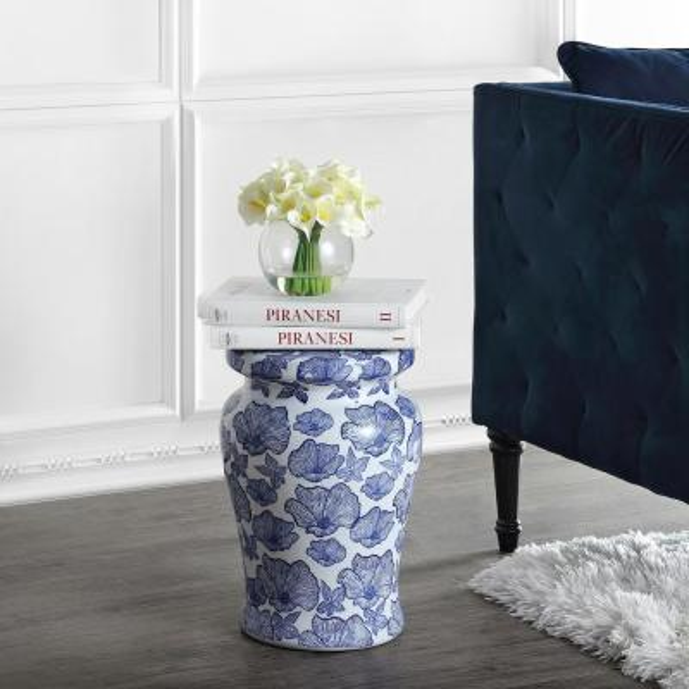 Poppies 17.7 in. White/Blue Ceramic Garden Stool