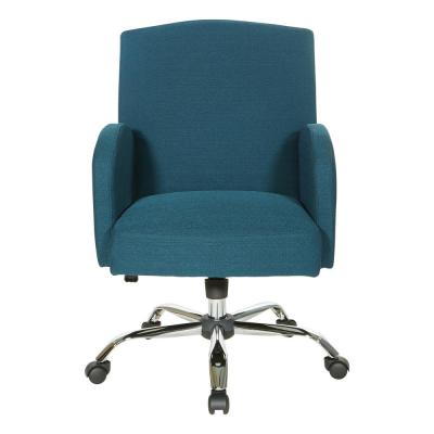 Joliet Office Chair in Blue Fabric with Chrome Base