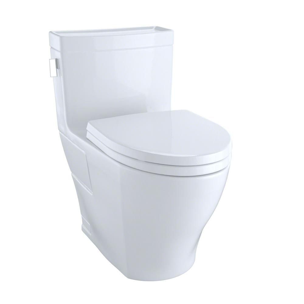 Toto Legato 1 Piece 28 Gpf Single Flush Elongated Skirted Toilet With Cefiontect In Cotton