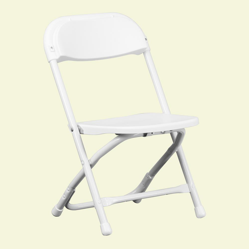 Flash Furniture Kids White Plastic Folding Chair