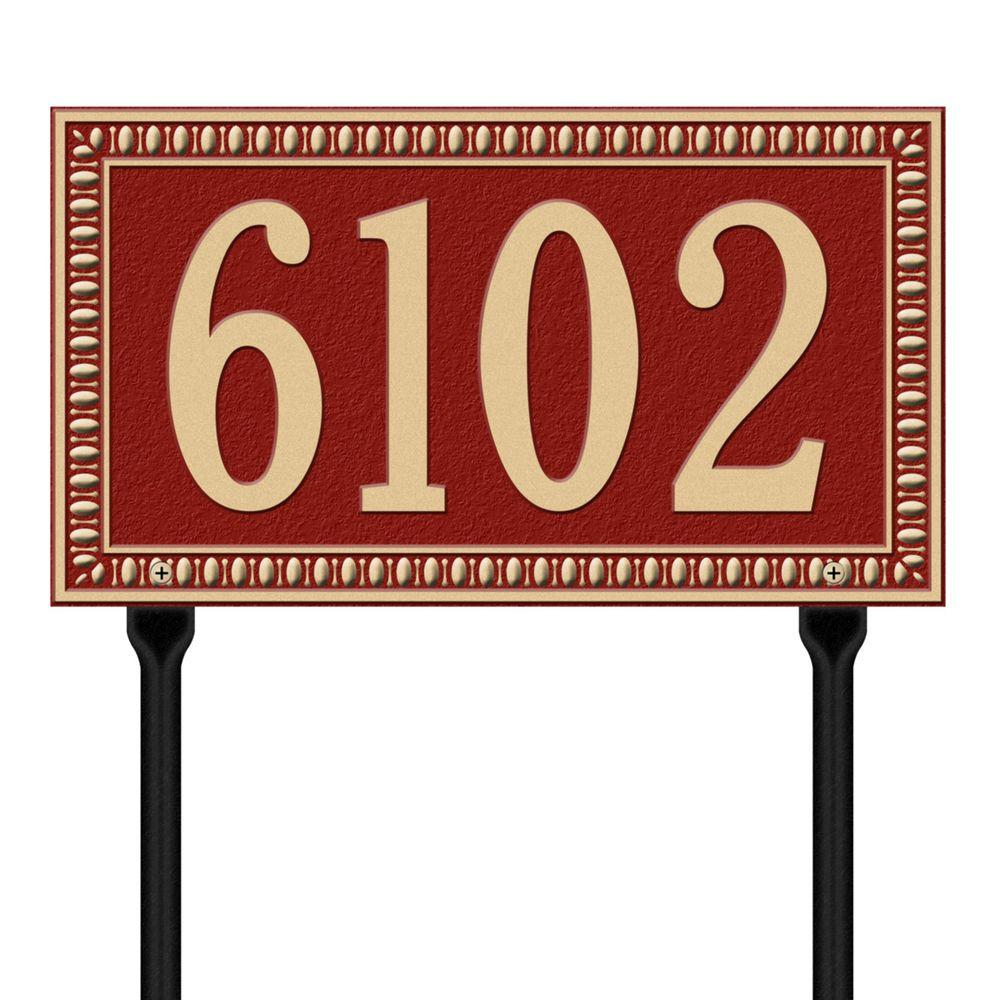 Egg and Dart Rectangular Red/Gold Standard Lawn One Line Address Plaque