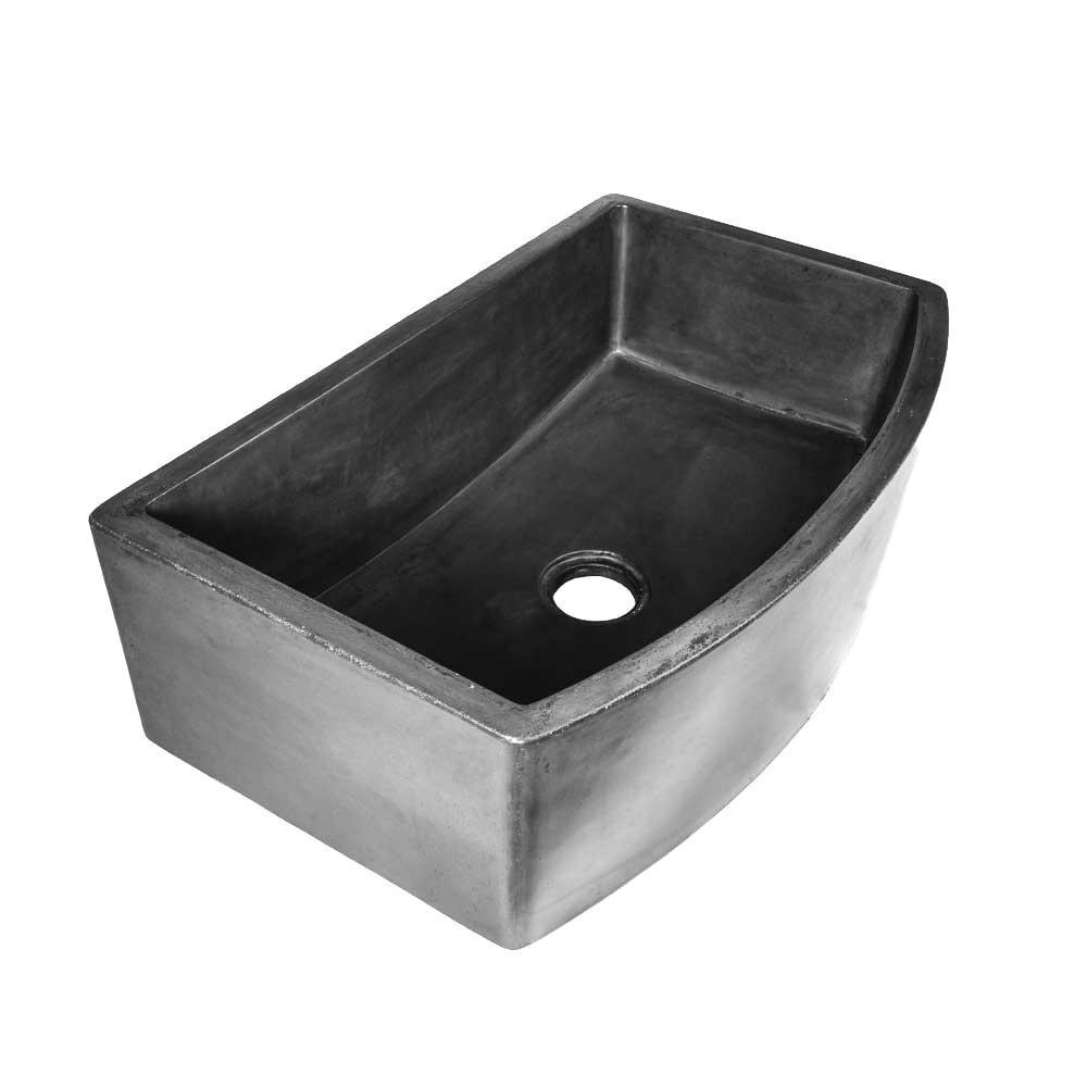 Farmhouse Apron Front Concrete 33 in. Single Bowl Kitchen Sink in Slate