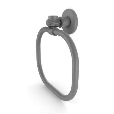 Continental Collection Towel Ring with Twist Accents in Matte Gray