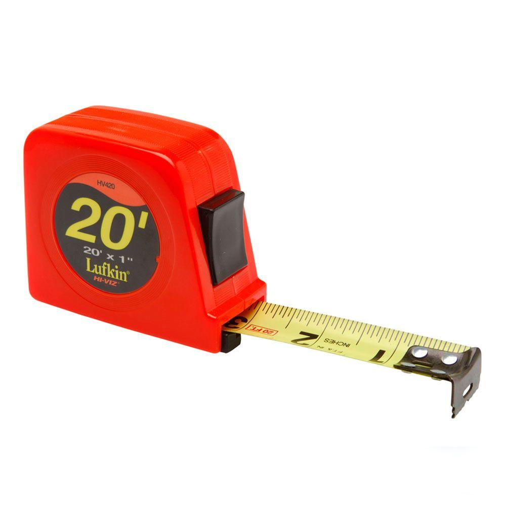 Lufkin 1 in. x 20 ft. Hi-Viz Orange Power Return Tape Measure