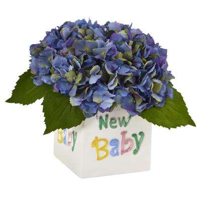 9.5 in. Hydrangea in New Baby Ceramic in Blue