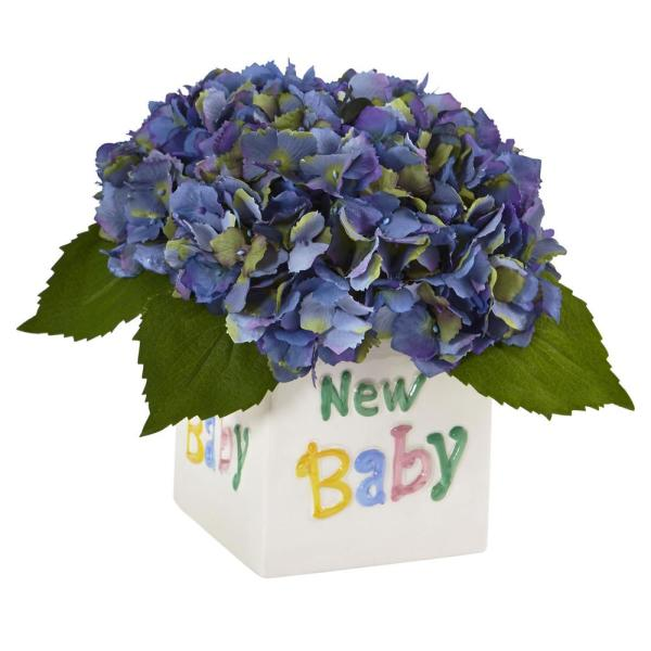 Nearly Natural 9.5 in. Hydrangea in New Baby Ceramic in Blue