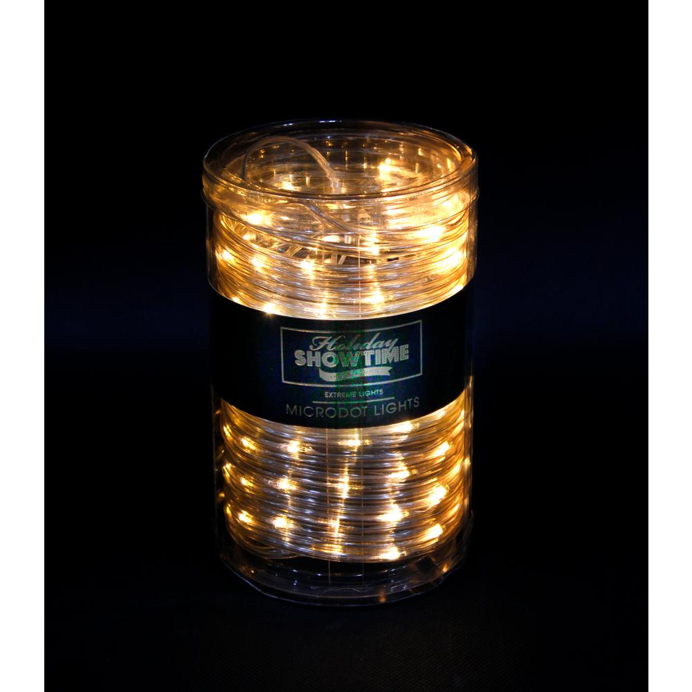 26 ft. 100-Light LED Warm White Battery Operated Micro Dot Rope