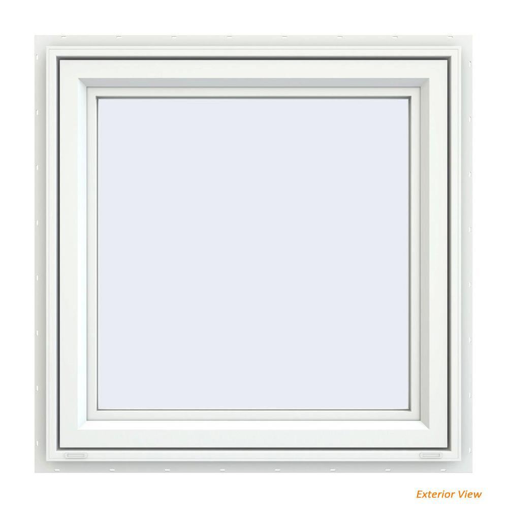 29.5 in. x 29.5 in. V-4500 Series White Vinyl Left-Handed Casement Window with Fiberglass Mesh Screen