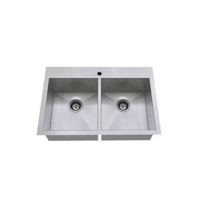 Edgewater Zero Radius Dual Mount Stainless Steel 33 in. 1-Hole Double Bowl Kitchen Sink Kit
