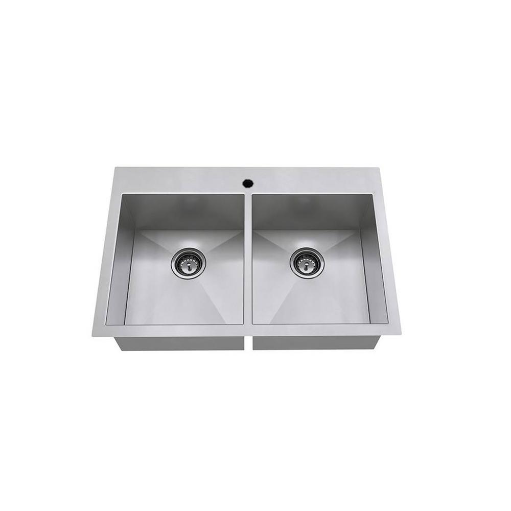 Edgewater Zero Radius Dual Mount Stainless Steel 33 in. 1-Hole Double Bowl Kitchen Sink Kit