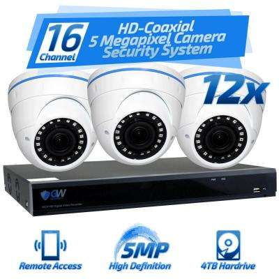16-Channel HD-Coaxial 5 MP Security Surveillance System with 2.8 mm to 12 mm Manual Varifocal Lens and 4TB HDD
