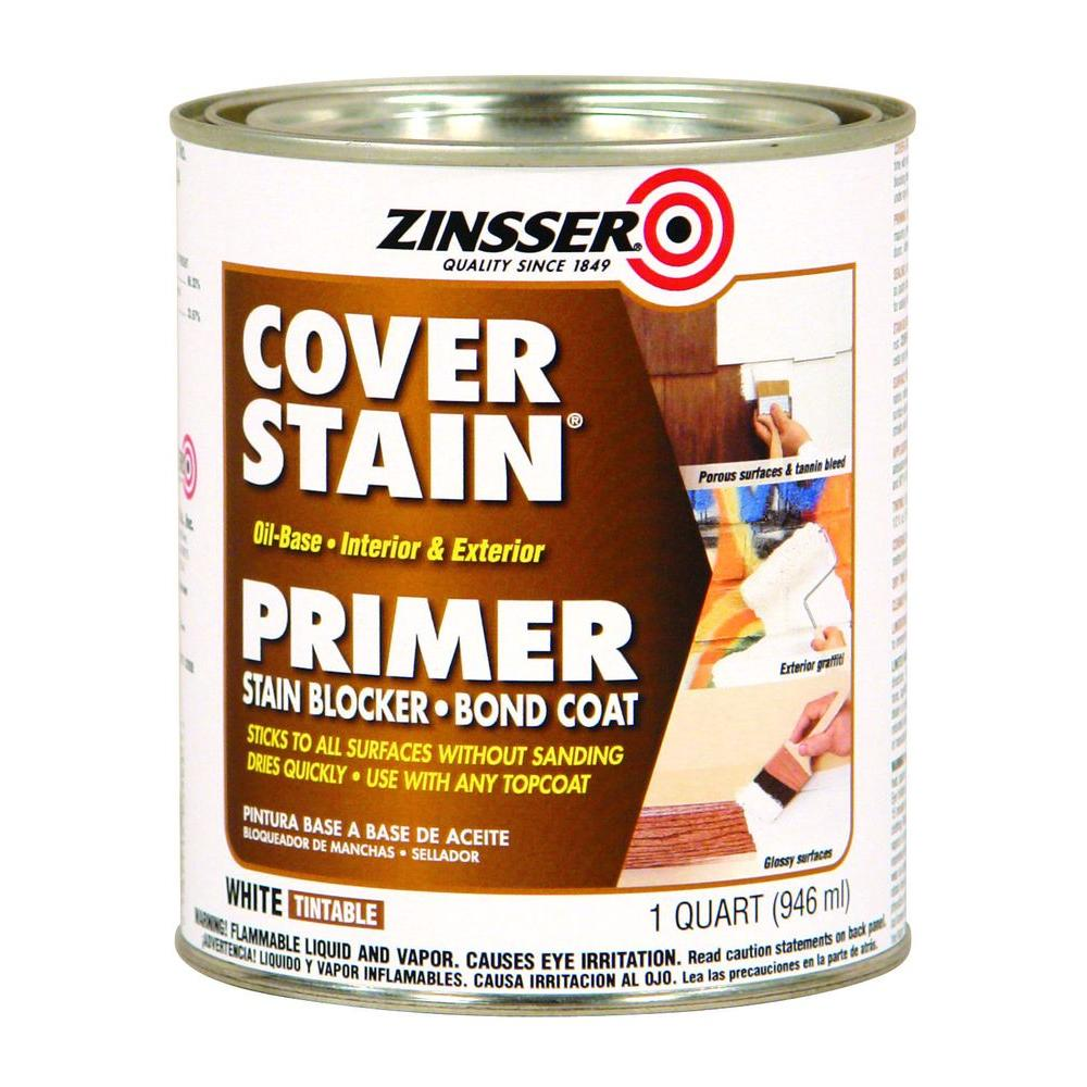 Zinsser 1 Qt White Cover Stain Oil Based Interior Exterior Primer And Sealer Case Of 6 3504