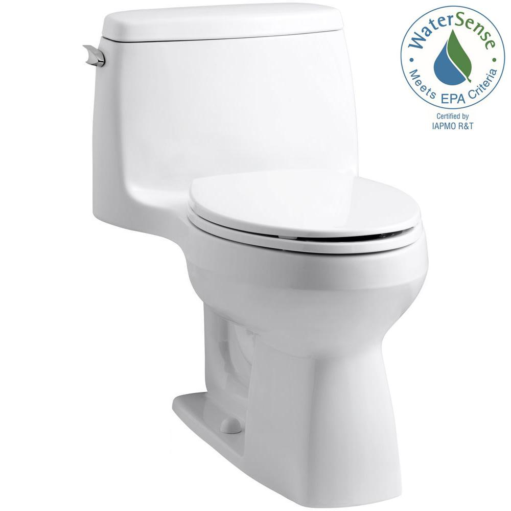 KOHLER Santa Rosa Comfort Height 1-piece 1.28 GPF Single Flush Compact Elongated Toilet with AquaPiston Flush in White