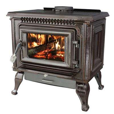 2,000 sq. ft. EPA Certified Mahogany Enameled Porcelain Cast Iron Wood Stove with Blower