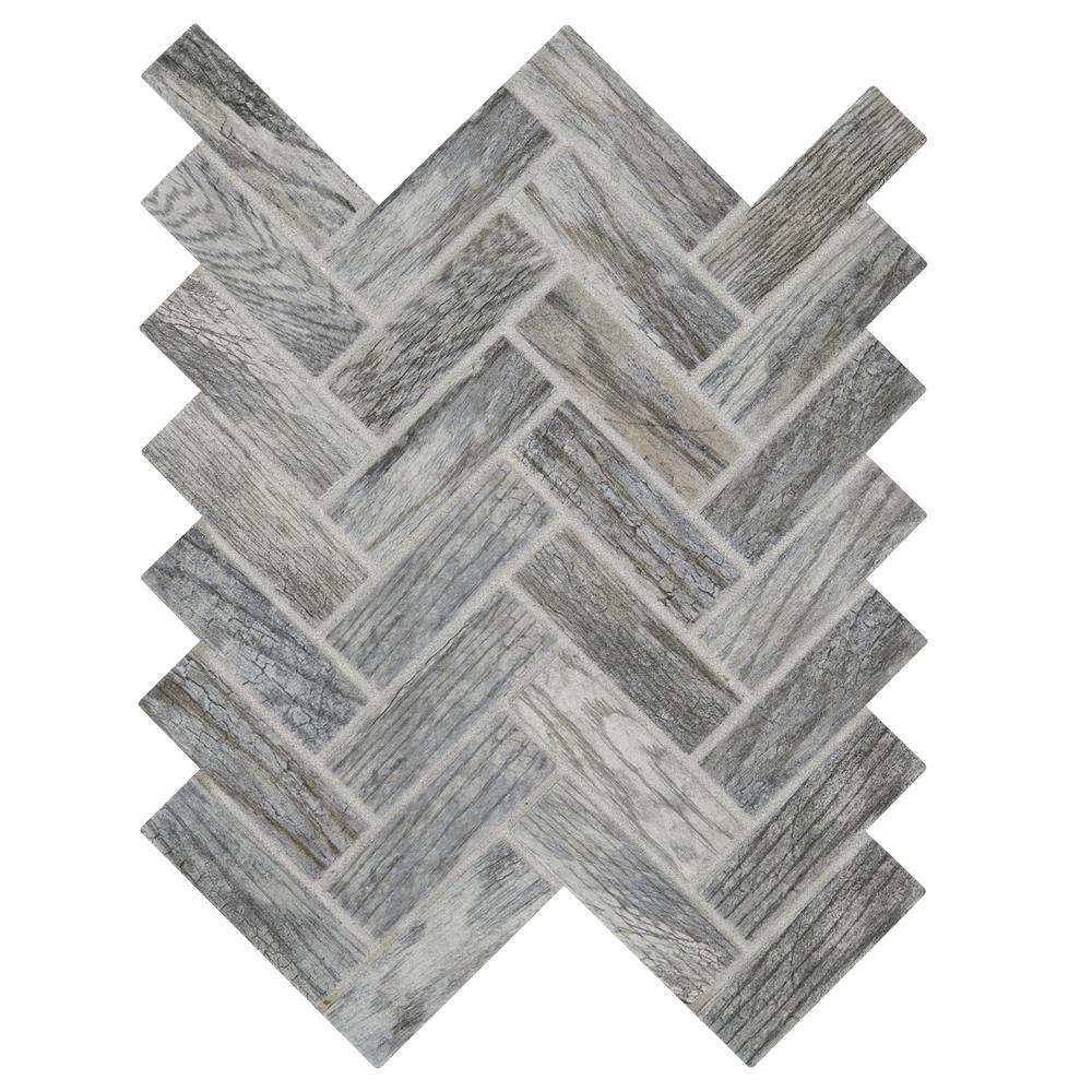 Marazzi Montagna Dapple Gray 9 in. x 12 in. x 6.35 mm Ceramic Herringbone Mosaic Floor and Wall Tile (0.6 sq. ft. / piece)