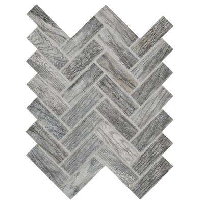 Montagna Dapple Gray 9 in. x 12 in. x 6.35 mm Ceramic Herringbone Mosaic Tile