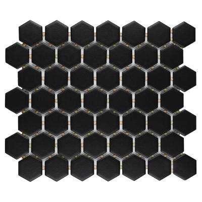 Restore Matte Black Hexagon 10 in. x 12 in. x 6.35 mm Glazed Ceramic Mosaic Tile (0.81 sq. ft./piece)