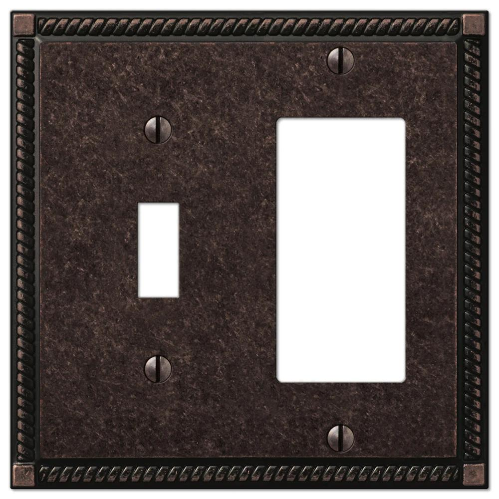 AMERELLE Georgian 2 Gang 1-Toggle and 1-Rocker Metal Wall Plate - Tumbled Aged Bronze
