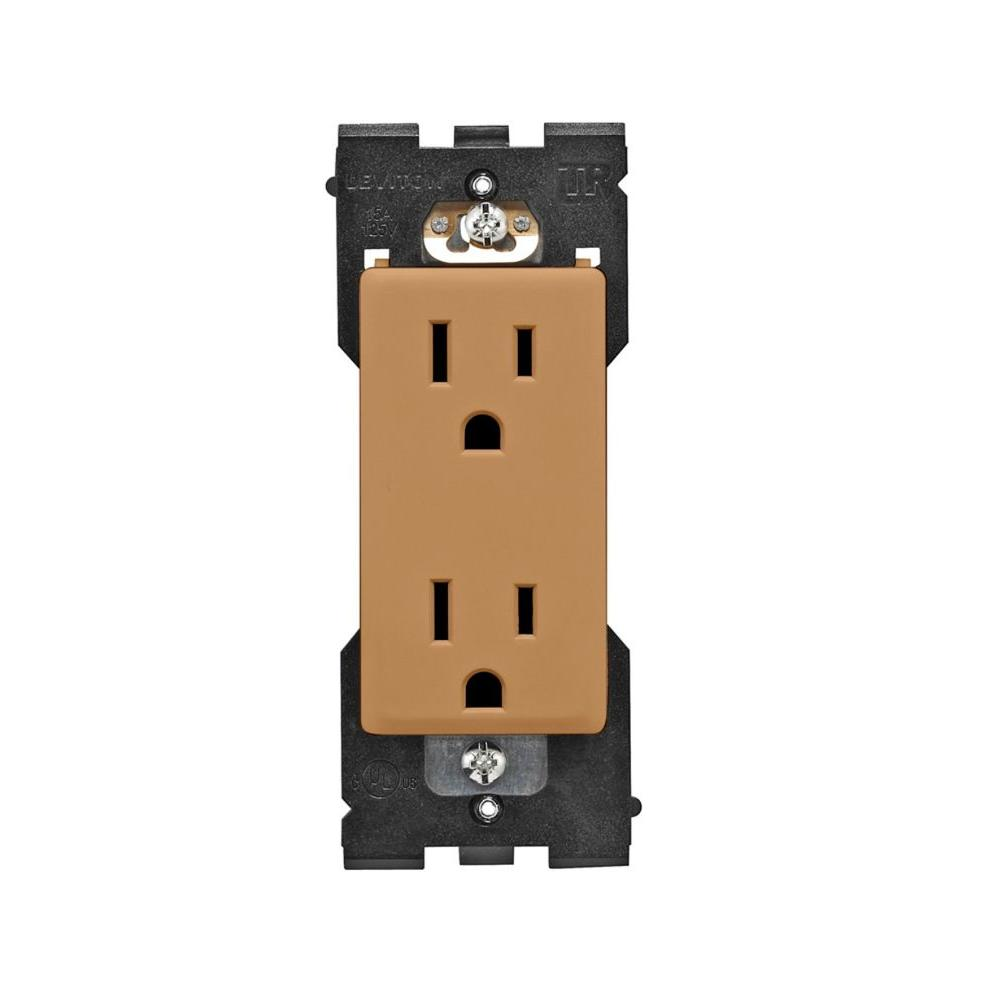 Leviton Renu 15 Amp Tamper Resistant Duplex Outlet - Warm Caramel-DISCONTINUED