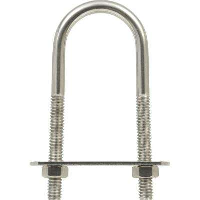 5/16 in  x 3-3/4 in  x 1 in  Stainless Steel U-Bolt with Plate and Hex Nuts  (5-Pack)