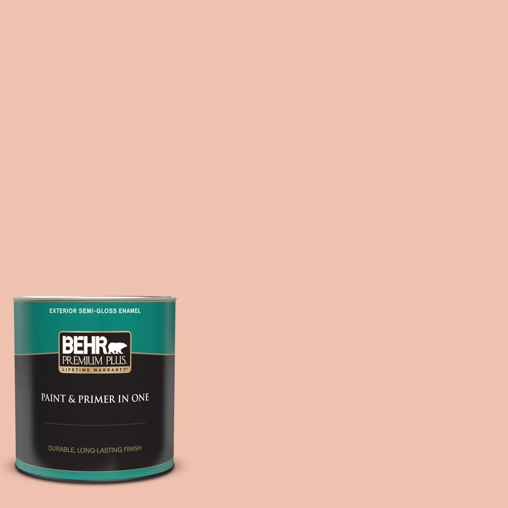 Behr Premium Plus 1 Qt M180 3 Flamingo Feather Semi Gloss Enamel Exterior Paint And Primer In One 540004 The Home Depot