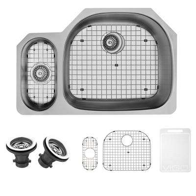 Undermount Stainless Steel 32 in. Double Basin Kitchen Sink with Grid and Strainer