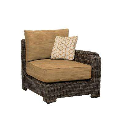 Northshore Right Arm Patio Sectional Chair with Toffee Cushion and Tessa Barley Throw Pillow -- CUSTOM